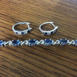 925 SS Diamond/Sapphire Earrings & Bracelet Set
